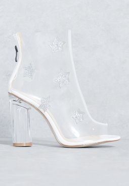 Melisa Star Scattered Clear Ankle Boot in White Pa