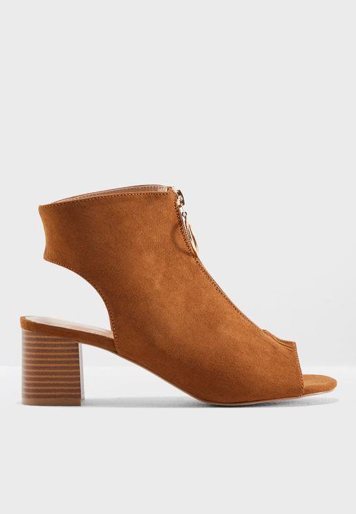 Ava Zip Front Peep Toe Sandals