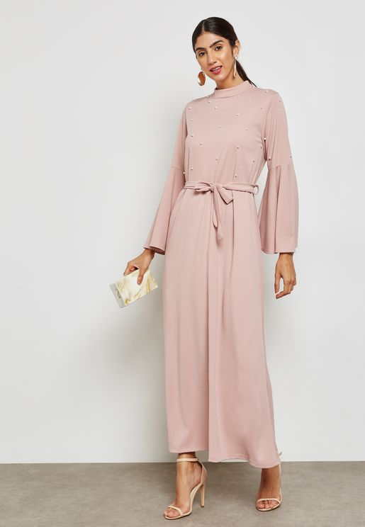 Pearl Ruffle Sleeve Self Tie Maxi Dress