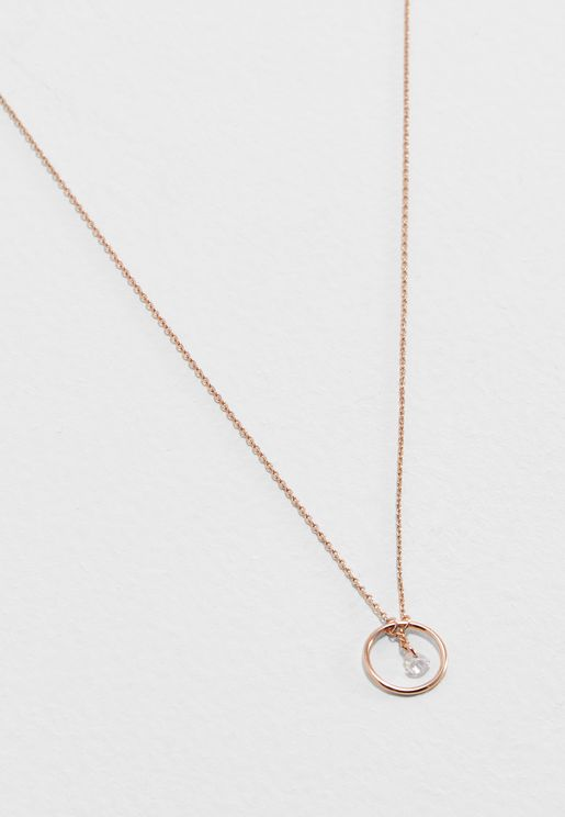 Heart Drop Open Circle Ditsy Necklace