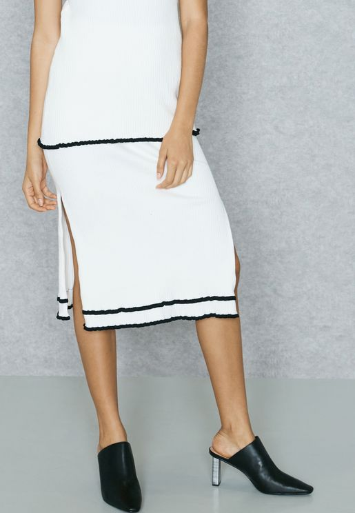 Side Split Contrast Skirt