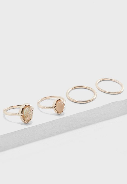 Iridescent Faux Stone & Faux Pearl Ring Set