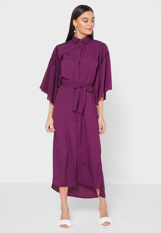 Ruffle Sleeve Self Tie Shirt Midi Dress
