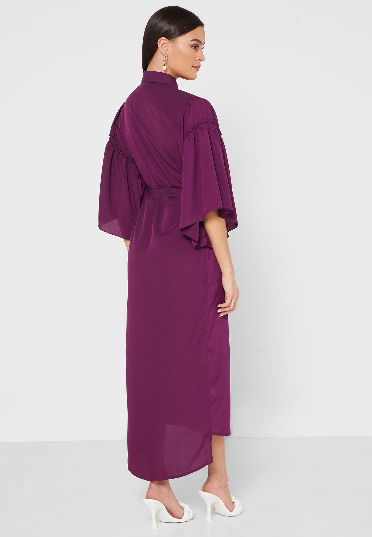 Ruffle Sleeve Self Tie Shirt Midi Dress