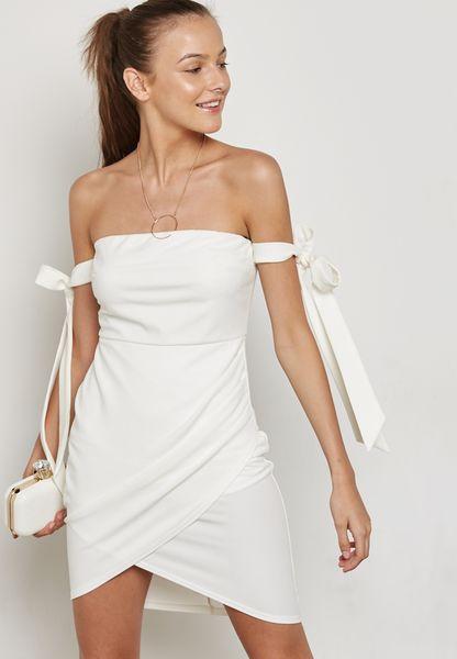 Wrap Detail Bardot Dress