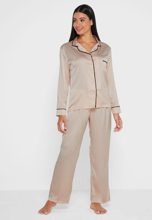 Abigail Contrast Tie Waist Pyjama Set