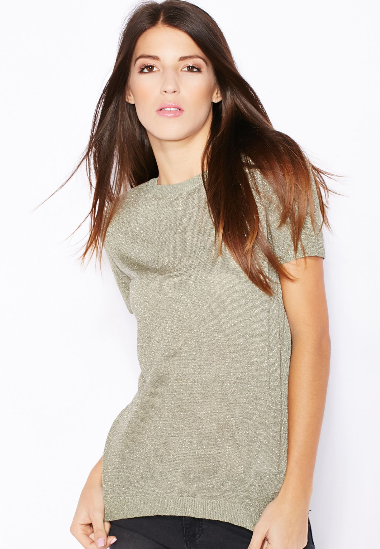 0a947202 Shop Dorothy Perkins green Zip Back Sparkle T-Shirt for Women in UAE ...