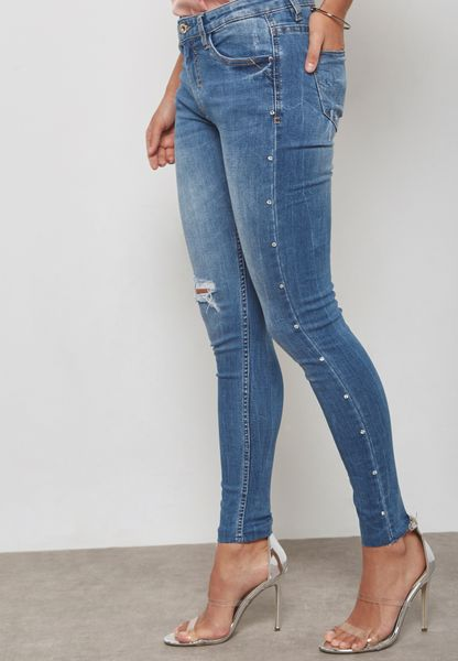 Stud Side Ripped Skinny Jeans