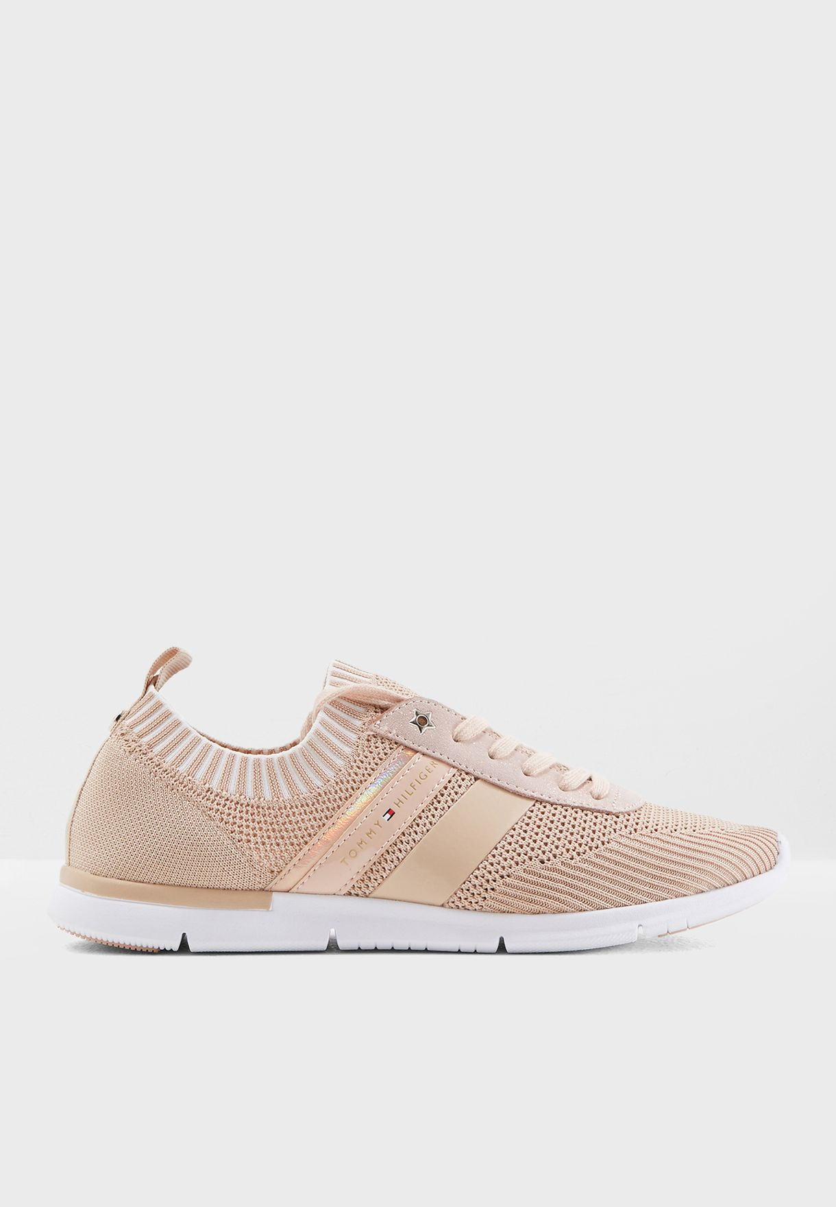 dc8451329 Shop Tommy Hilfiger pink Knitted Light Weight Sneaker FW0FW03035 for ...