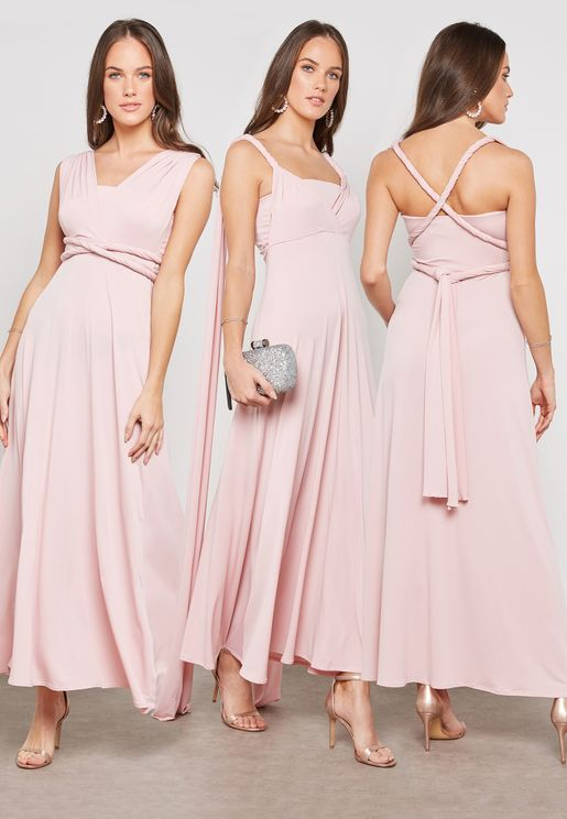 Crossover Pleated Maxi Dress