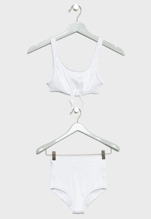 Teen Tie Front Bikini Set