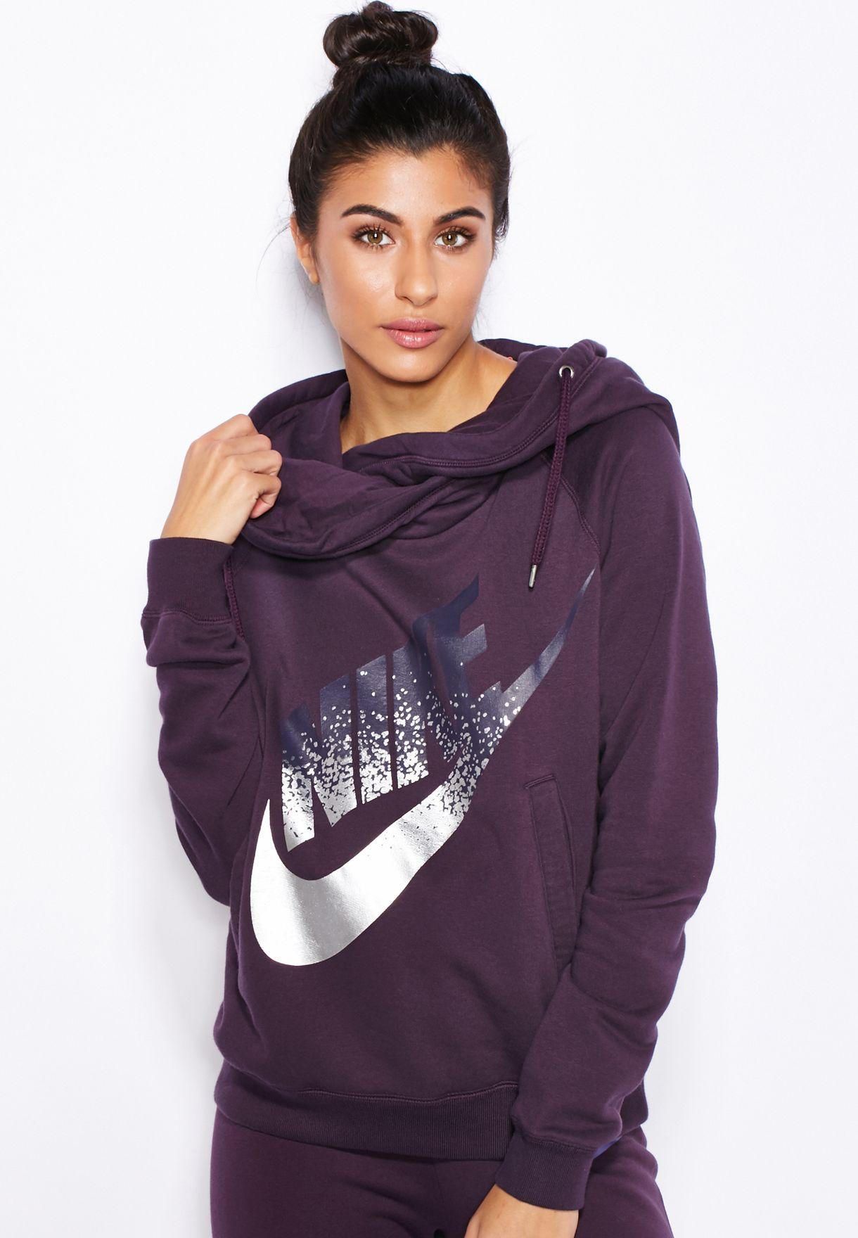 7e33205df292 Shop Nike purple Rally Funnel Metal Hoodie 684135-507 for Women in ...