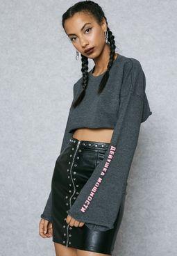 Slogan Sleeve Crop Sweatshirt