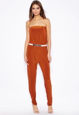 Club L Bandeau Jersey Belt Jumpsuit