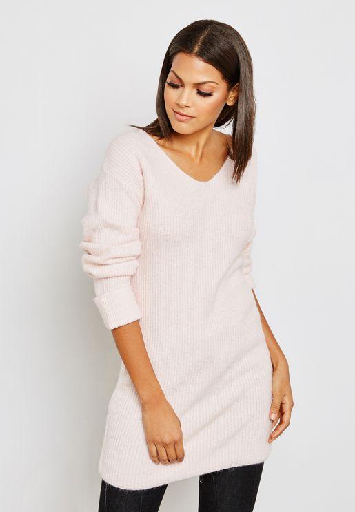 V-Neck Longline Sweater