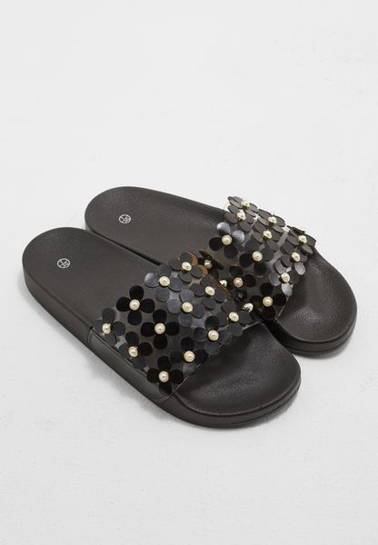 Perspex Strap With Flower Applique Slides