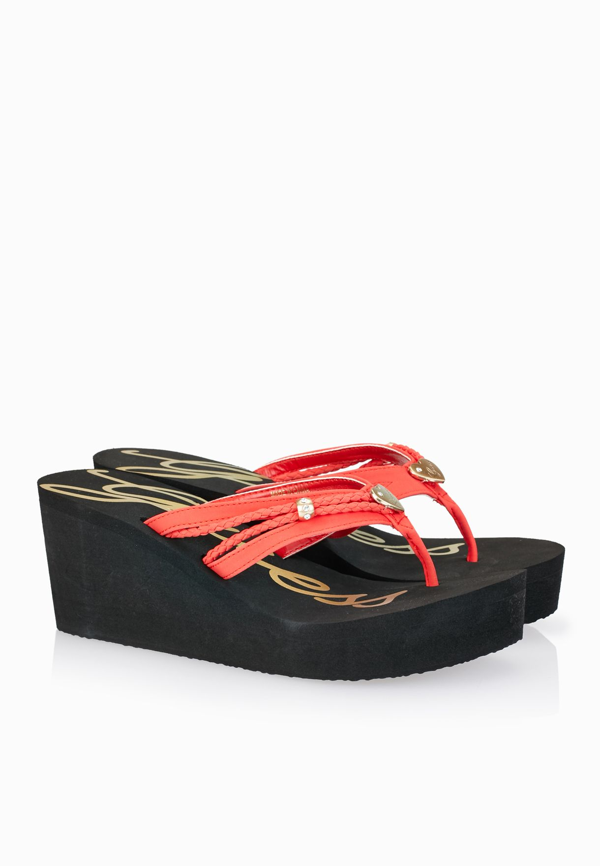 57819e5b4 Shop Guess red Jewelled Thong Wedge Sandals gwSEABY-B for Women in ...