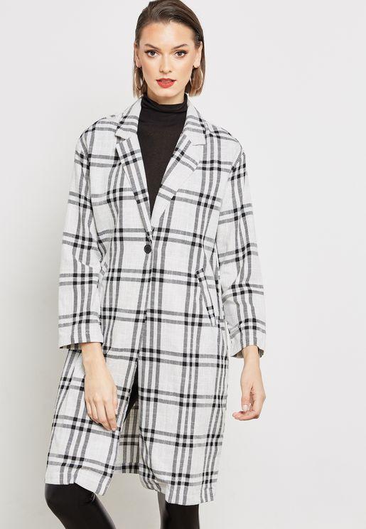 معطف طويل مربعات