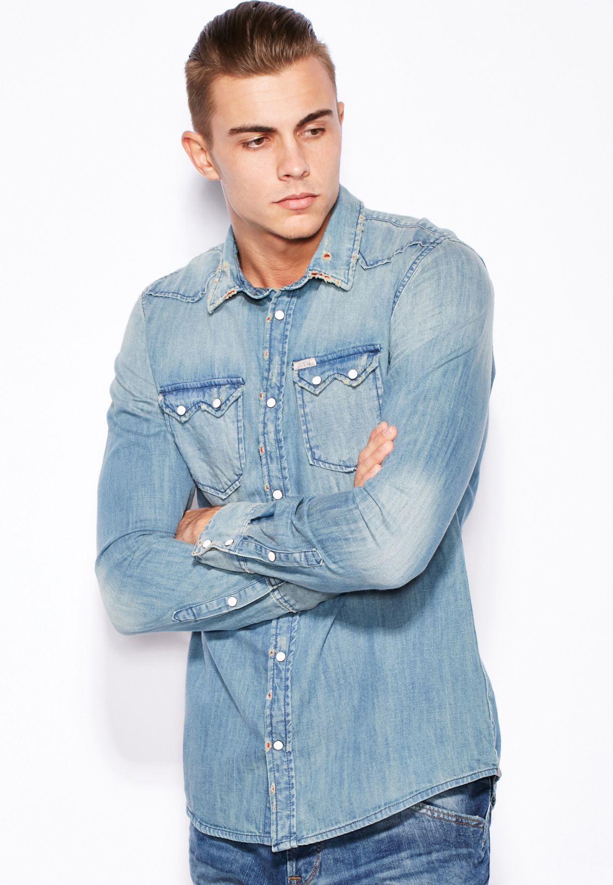 78924fa9db1 Shop Guess blue Connor Denim Shirt M53H41D13T3 for Men in UAE ...