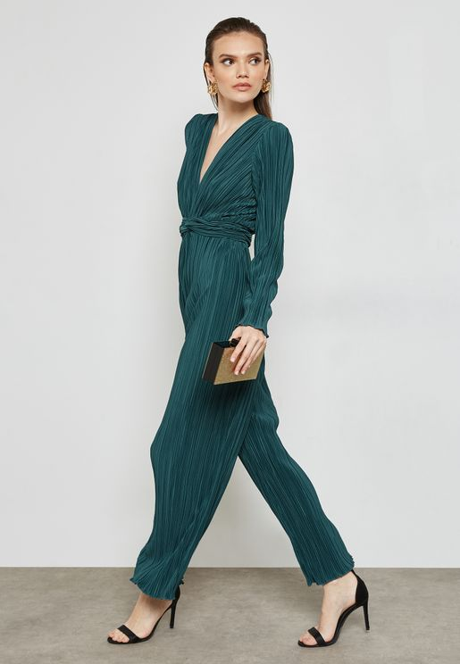 Plisse Twisted Front Jumpsuit