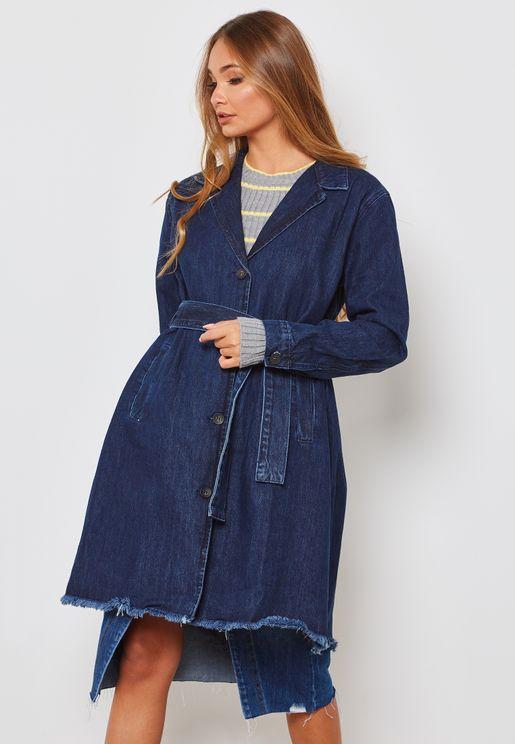 Denim Wrap Coat