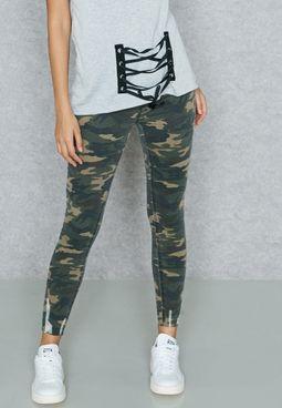 Camo Raw Hem Skinny Jeans