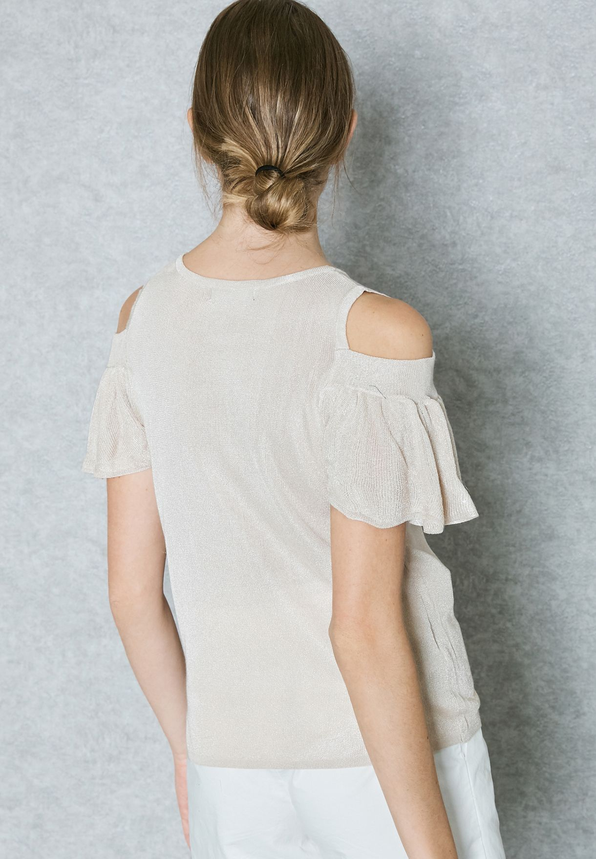 Frill Sleeve Cold Shoulder Sweater