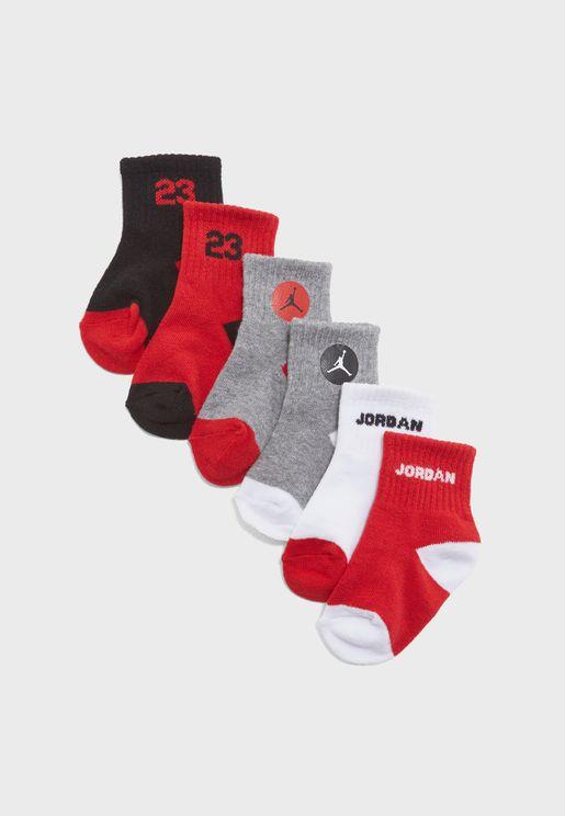 Kids 6 Pack Legend Quarter Socks