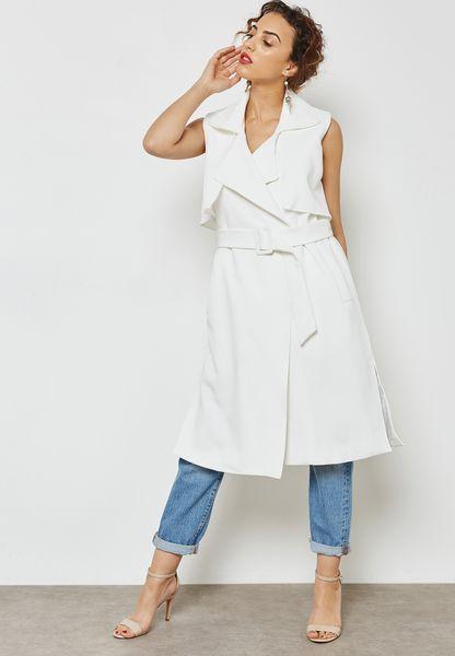 Belted Sleeveless Longline Jacket
