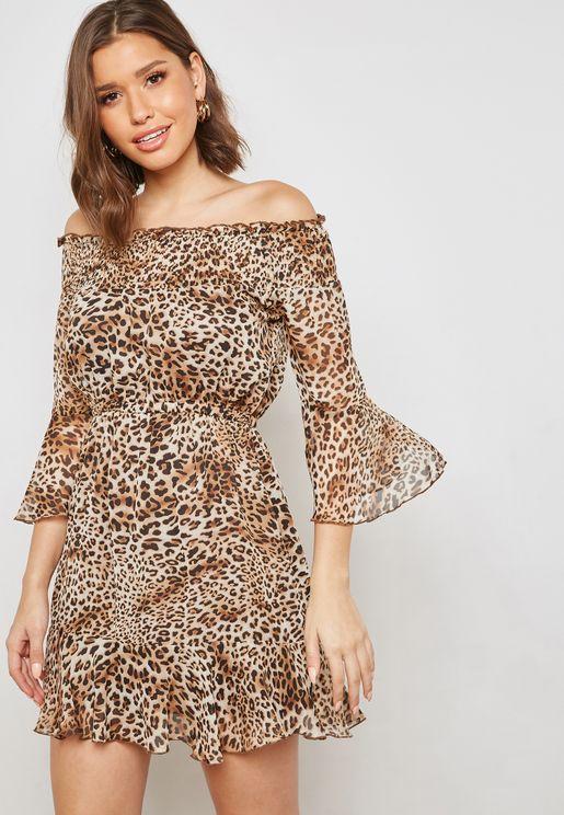 Leopard Print Ruffle Trim Bardot Dress