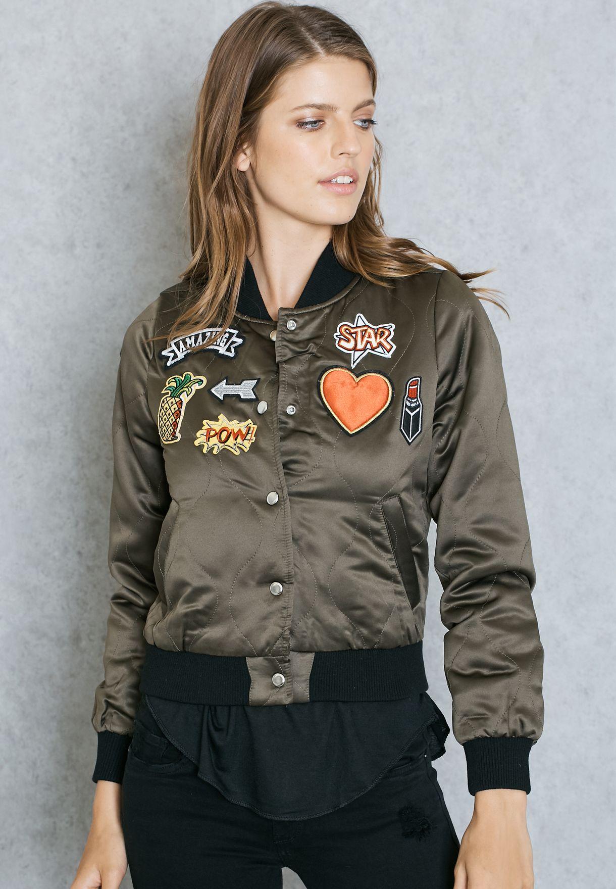 Badge Padded Bomber Jacket