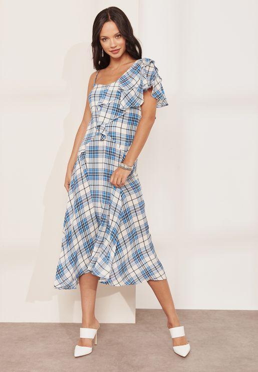 فستان مربعات بكشكش