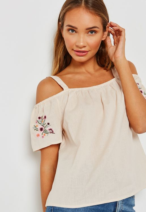 Embroidered Sleeve Cold Shoulder Top