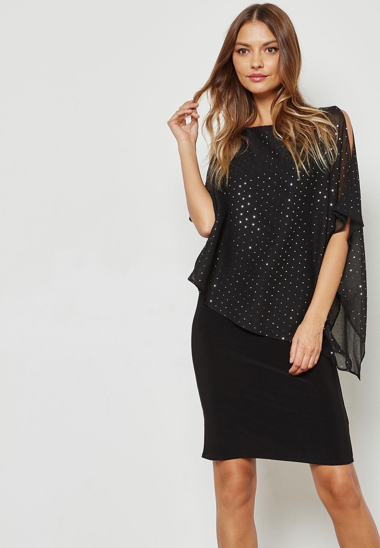 d2d4778d68 Shop Wallis black Sparkle Overlay Cold Shoulder Dress 154667001 for ...