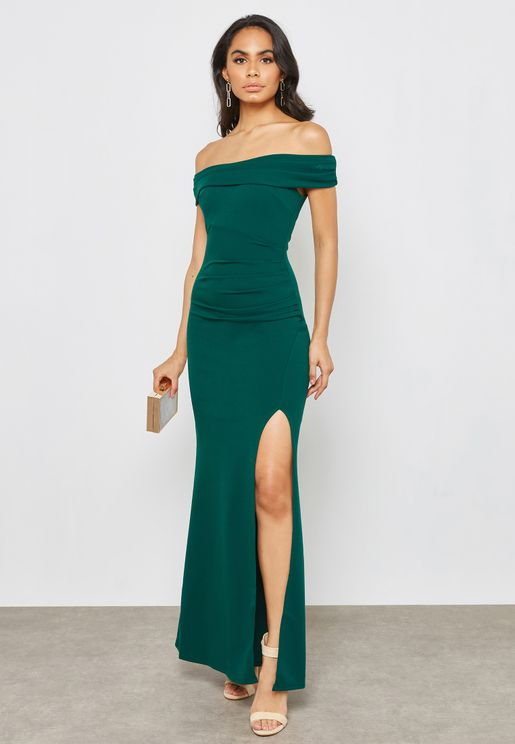Bardot Maxi Dress With Split