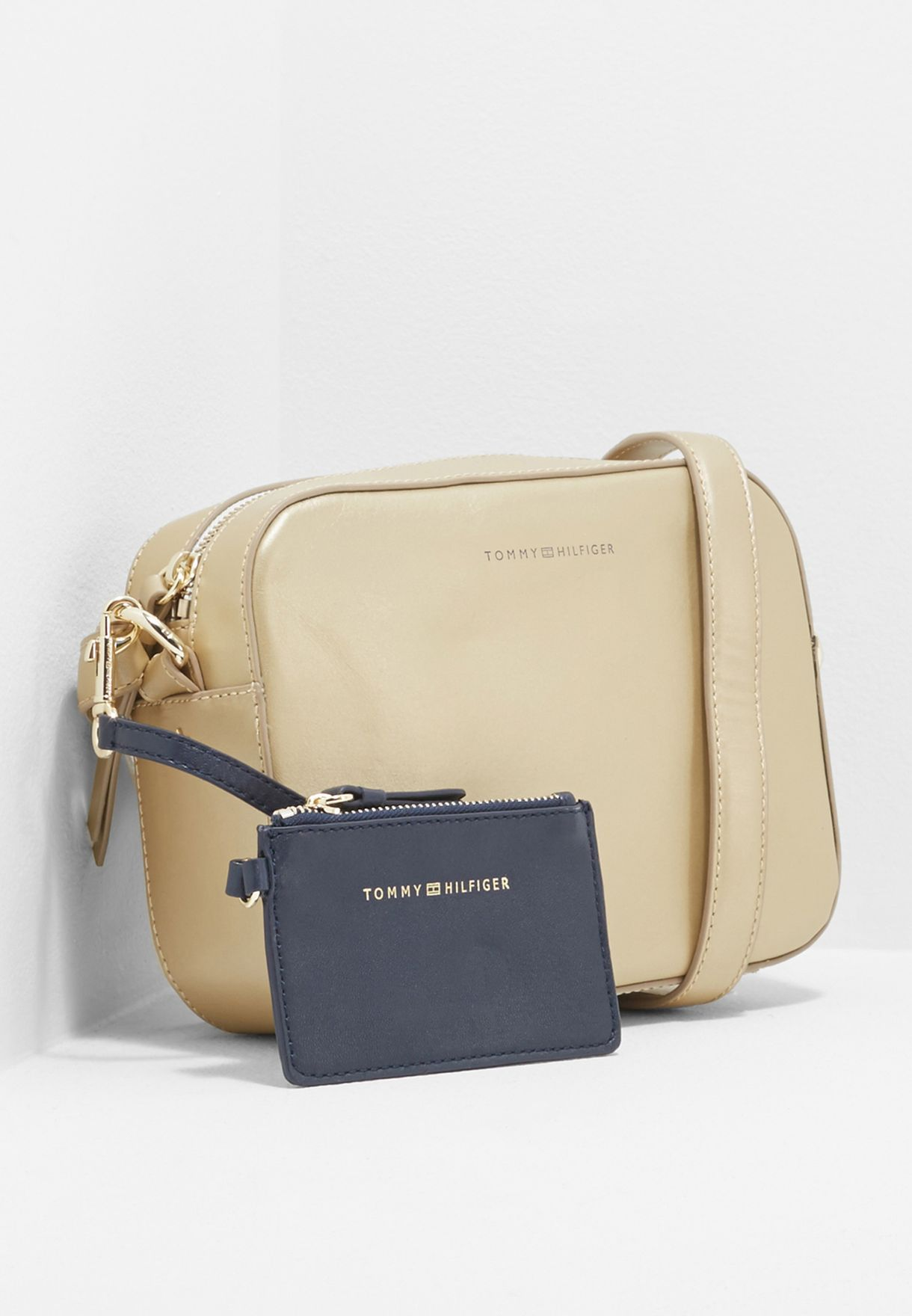 ec5ed06a Shop Tommy Hilfiger gold Iconic Crossbody AW0AW05002 for Women in ...
