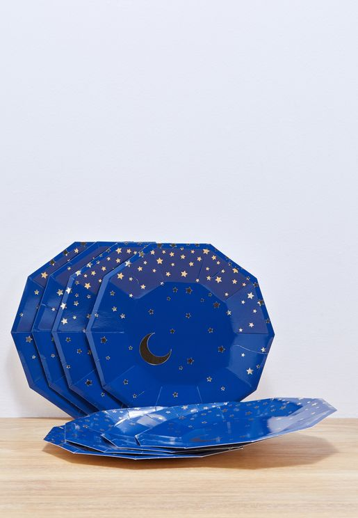 Large Stars & Moon Plates 8pcs
