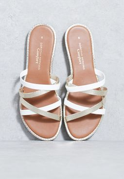 Strappy Textured Tone Tone Sandals
