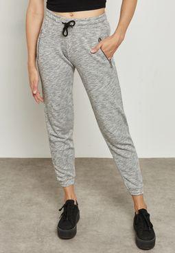 Zip Detail Marl Sweatpants