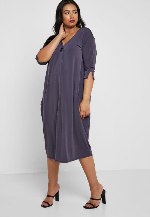 Button V-Neck Dress
