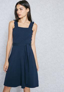 Ruffled Strap Tie Waist Dress