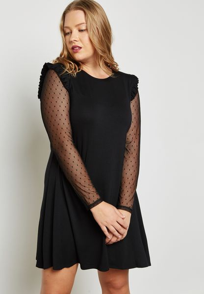 Polka Dot Mesh Sleeve Dress
