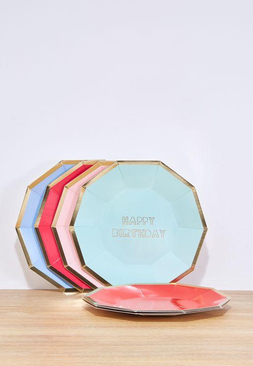 8 Large Birthday Plates Pack