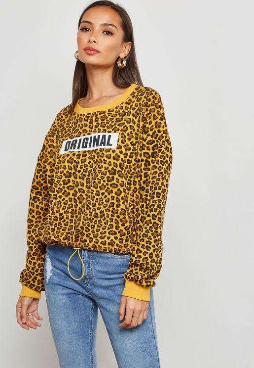 Leopard Print Slogan Sweatshirt