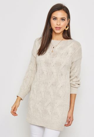 88b42a0372 Shop Ella grey Braided Paneled Side Zip Oversized Sweater 3861 for ...