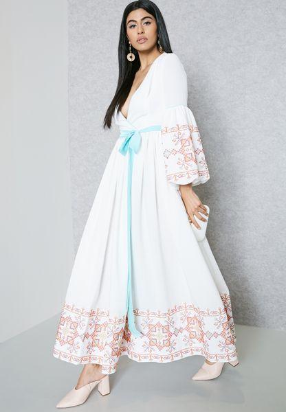 Embroidered Trim Self Tie Dress