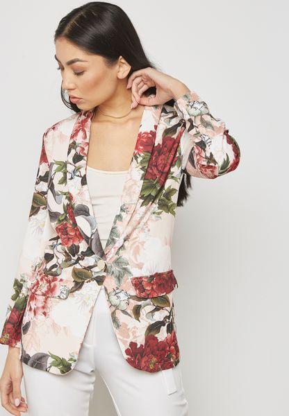 Floral Print Pocket Blazer