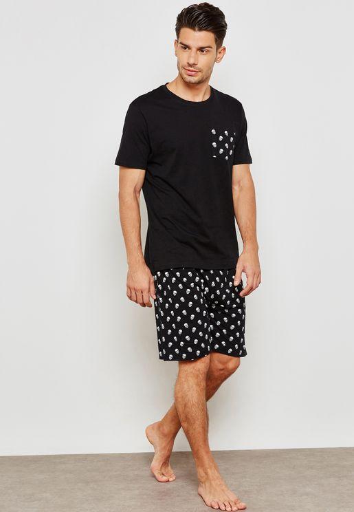 Majestic Skull Printed Pyjama Shorts Set