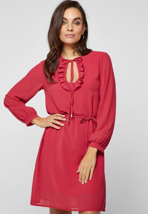 Tie Neck Ruffle Self Tie Dress