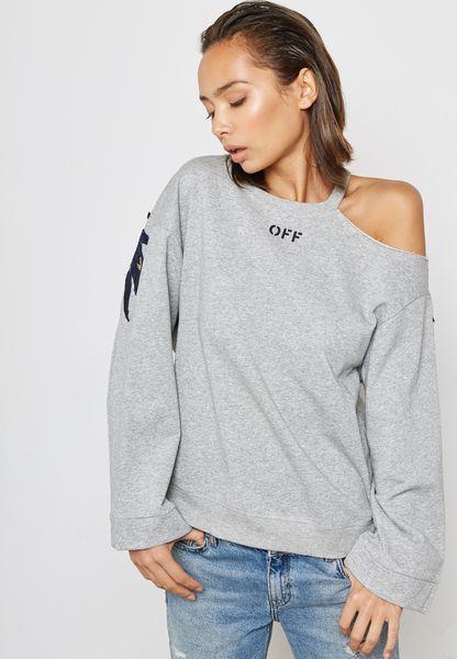 Embroidered One Side Cold Shoulder Sweatshirt